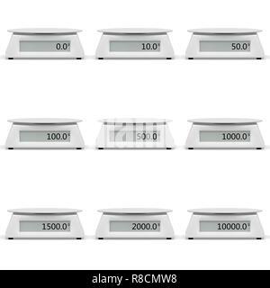 Large gamme de balances de cuisine avec des indications différentes. Fond isolé blanc. 3D render Banque D'Images