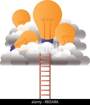Les ampoules avec les nuages et les escaliers Banque D'Images