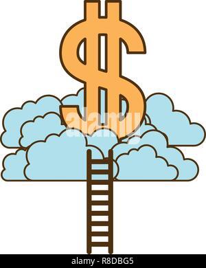 Symbole du dollar avec les nuages et les escaliers Banque D'Images