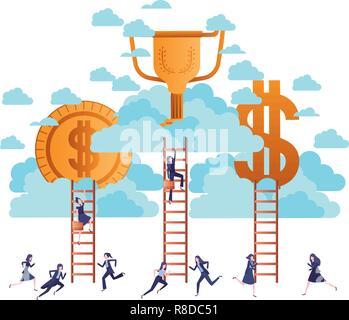 Avec des femmes d'argent doré et de caractère escaliers Banque D'Images