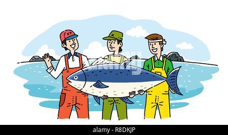 Dessin caricature d'agriculteurs et aux pêcheurs avec leurs produits agricoles et marines illustration vectorielle. 005 Banque D'Images