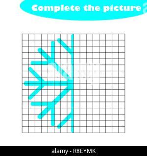 Compléter le tableau, en flocon cartoon style, compétences en dessin, de formation scolaire jeu de papier pour le développement des enfants, pour les enfants, activité préscolaire version feuille, vector illustration Banque D'Images