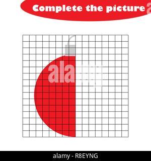 Compléter le tableau, xmas ball in cartoon style, compétences en dessin, de formation scolaire jeu de papier pour le développement des enfants, pour les enfants, activité préscolaire version feuille, vector illustration Banque D'Images
