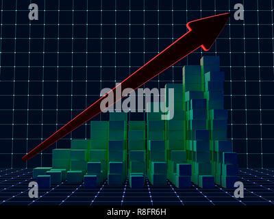 Business graph et la courbe de croissance. Le rendu 3D Banque D'Images