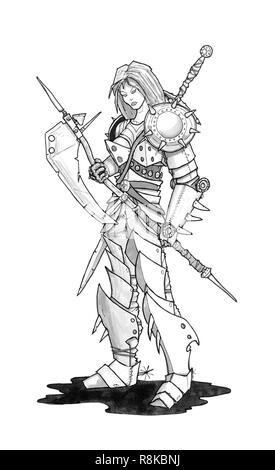 Guerrière Avec Une épée Illustration Noir Et Blanc Encre
