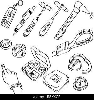 Ensemble de fournitures médicales à la main doodles isolé sur un fond blanc. Banque D'Images
