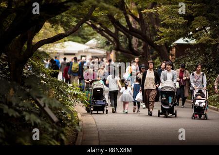 Familles japonaises marchant à travers Shinjuku GYO-en garden national park à Tokyo Banque D'Images