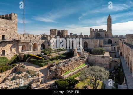 La tour de David dans la vieille ville de Jérusalem, Israël. Banque D'Images