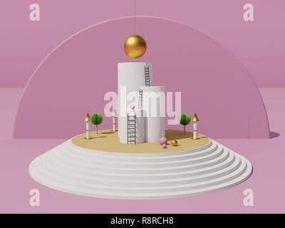 Geomtric paysage miniature symbolise l'ascension et le succès. Améliorer les possibilités et d'atteindre l'objectif. Concept. Le rendu 3D Banque D'Images
