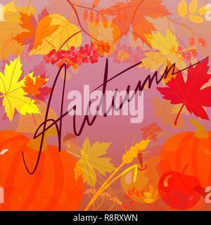 Mot en manuscrit l'automne sur l'arrière-plan avec les feuilles d'automne Banque D'Images