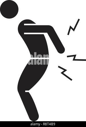 La douleur dorsale vector icône noire concept. Maux de dos télévision illustration, sign Banque D'Images