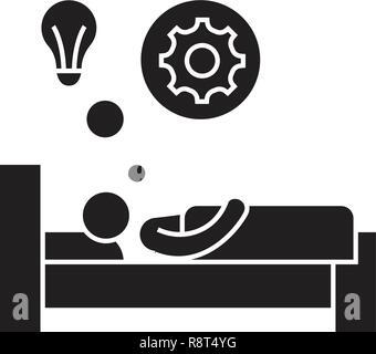 Idée lumineuse au lit vecteur icône noire concept. Idée lumineuse au lit télévision illustration, sign Banque D'Images