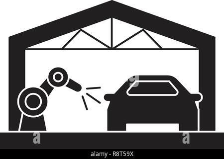 Chaîne de montage automobile vecteur icône noire concept. Chaîne de montage automobile télévision illustration, sign Banque D'Images