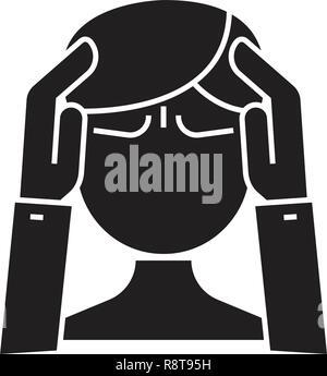 L'activité mentale vecteur icône noire concept. L'activité mentale télévision illustration, sign Banque D'Images