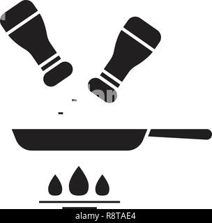 Aliments assaisonnement vecteur icône noire concept. Aliments assaisonnement télévision illustration, sign Banque D'Images