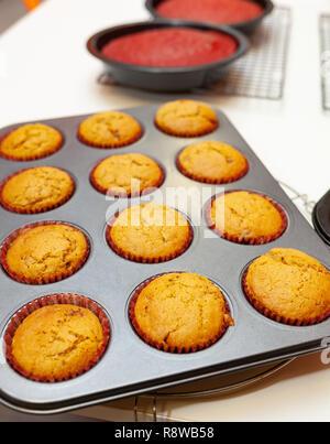 Maison Gingerbread Muffins ou sucré cupcake prêt à manger. Banque D'Images