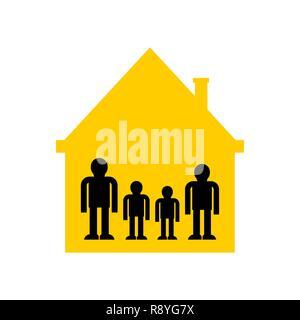 Dans la famille accueil symbole. type de chambre s'icône. Les parents et les enfants. Vector illustration Banque D'Images