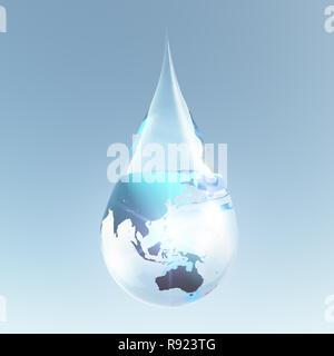 Composition symbolique. L'Australie et l'Asie pour la goutte d'eau Banque D'Images