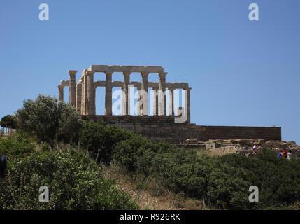 Attica Grèce Cap Sounion Temple de Poséidon Banque D'Images