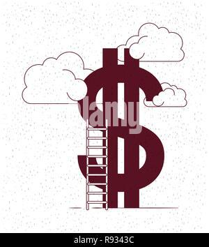 De l'argent avec des nuages et des escaliers Banque D'Images