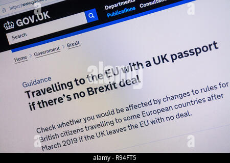 Capture d'écran de l'ordinateur de la gov.uk site montrant des conseils sur les voyages vers l'UE avec un passeport britannique s'il n'y a pas beaucoup Brexit Banque D'Images