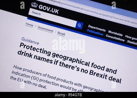 Capture d'écran de l'ordinateur de la gov.uk site montrant des conseils sur la protection des noms d'aliments et de boissons s'il n'y a pas beaucoup Brexit Banque D'Images