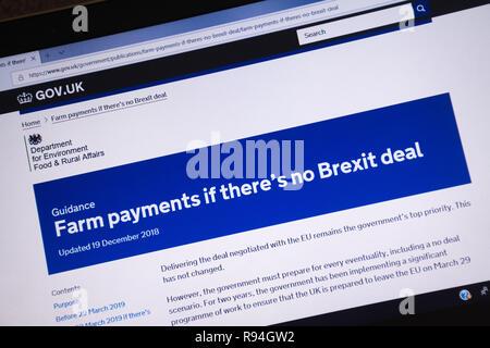 Capture d'écran de l'ordinateur de la gov.uk site montrant des conseils et de l'information sur les paiements agricoles s'il n'y a pas beaucoup Brexit Banque D'Images