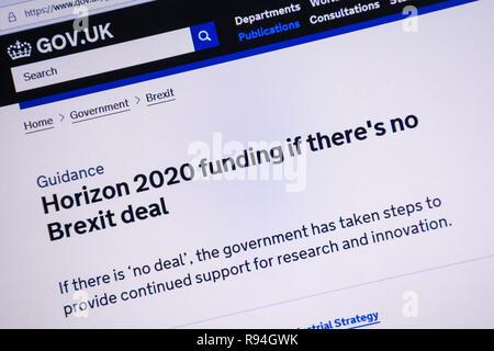 Capture d'écran de l'ordinateur de la gov.uk site montrant l'information sur le financement d'Horizon 2020 s'il n'y a pas beaucoup Brexit Banque D'Images