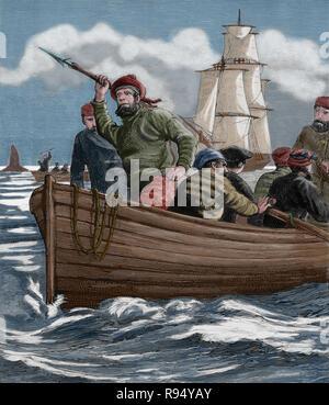 La chasse de baleines dans l'Arctique. Gravure, 19ème siècle. Banque D'Images