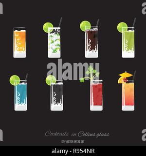 Side-car, cocktail mojito, Cuba libre, lemonader vert, bleu royal, soda, Bloody se marier, Tequila Sunrise cocktail set pour le web et print decoratio, pour Banque D'Images