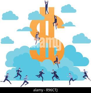 Les hommes d'affaires avec le signe du dollar caractère avatar Banque D'Images