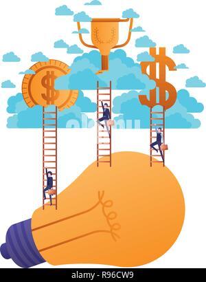 Hommes d'argent et d'or avec caractère escaliers Banque D'Images