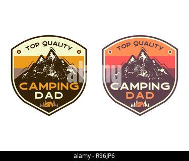 Camping La montagne insignes avec citation Top camping qualité papa. Patch voyage design. Nice pour la Fête des Pères comme cadeau, t-shirt, impression. Vecteur Stock stamps set isolé sur blanc.