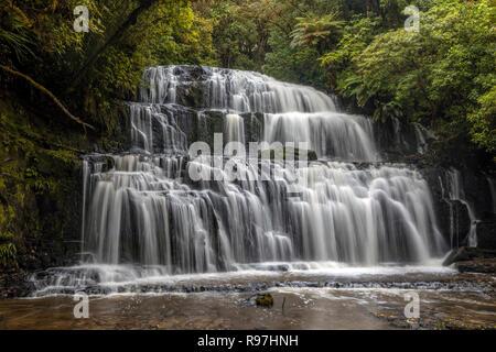 Purakaunui Falls, parc forestier de Catlins, île du Sud, Nouvelle-Zélande