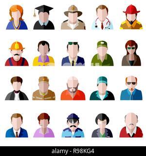 Vecteur de couleur télévision icon set. Différentes personnes personnage: féminin, masculin, prisonnier, agent de police, fille, grand-mère, grand-père, étudiant, homme d'affaires, Banque D'Images