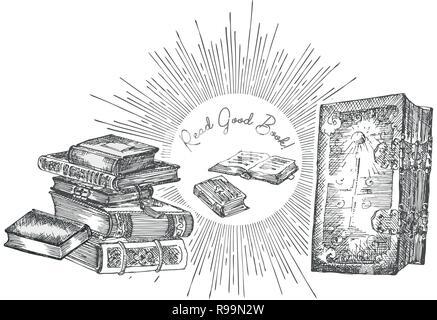 Bannière avec dessin carnets de croquis. Concept design vintage ou juste pour flyer festival, papier, bannière, bibliothèque de l'école affiche rétro, librairie la publicité dans leur gravure