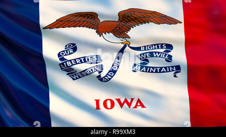 Drapeau de l'Iowa. Waving Flag de l'état de l'Iowa, Etats-Unis d'Amérique. 3d illustration Banque D'Images