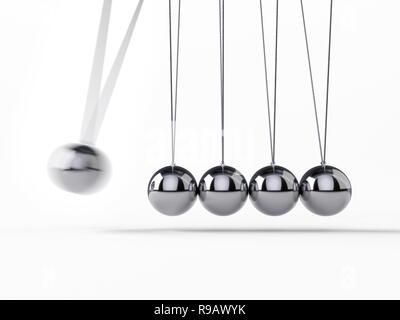 Boules d'équilibrage Newton's Cradle, rendu 3d,image conceptuelle. Banque D'Images