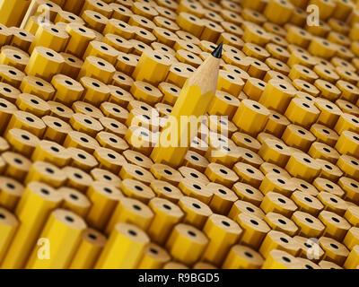 Crayon se distingue parmi les autres personnes aux prises avec l'inverse. 3D illustration. Banque D'Images