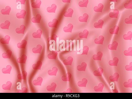Tissus de soie douce avec image coeurs Banque D'Images