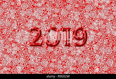 Noël et Nouvel An 2019 modèle de carte de vœux ou de l'affiche de fête avec des flocons de contexte Banque D'Images