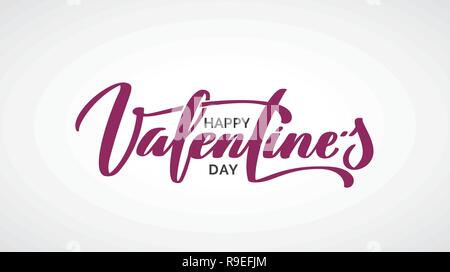 Happy Valentine's Day lettrage manuscrit. Texte calligraphié en noir avec cœur percé par la flèche rouge isolé sur fond blanc. Valentines Day holi Banque D'Images