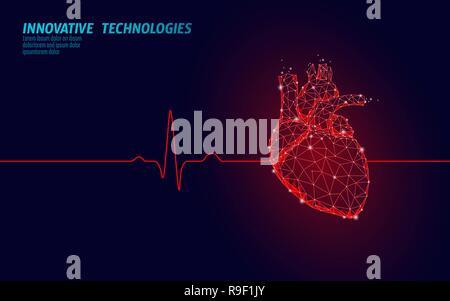 Battements de coeur humain en médecine 3d model low poly. Points connectés Triangle point lueur fond rouge. Corps interne d'impulsions de forme anatomique moderne technologie innovante rendre vector illustration Banque D'Images
