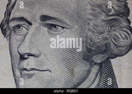 Macro portrait Alexander Hamilton usa billet de dix dollars ou de loi. Banque D'Images