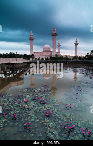 Avis de Bukit Jelutong mosquée pendant matin nuageux Banque D'Images