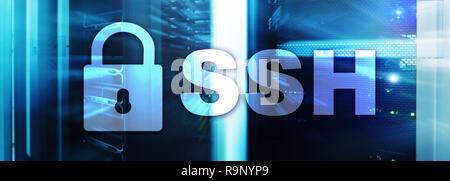 SSH, protocole Secure Shell et le logiciel. La protection des données, concept d'internet et de télécommunications. Banque D'Images