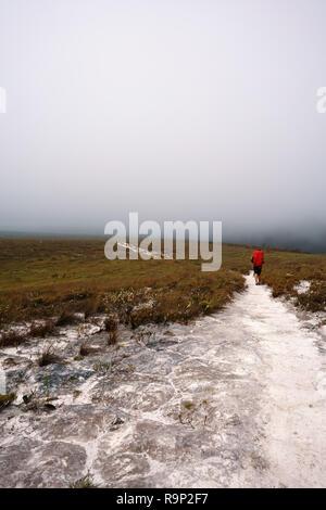 Un homme sur un chemin de randonnée avec le brouillard dans le ciel Banque D'Images
