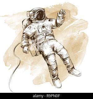 Le cosmonaute ou astronaute en scaphandre. Hand drawn vector illustration artistique sur fond d'aquarelle. Tous les éléments isolés. Banque D'Images