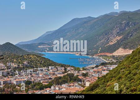 Vue panoramique de l'antenne de station populaire ville Kas en Turquie Banque D'Images
