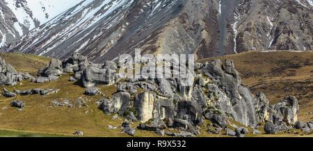 La colline du château durant l'hiver, l'île du Sud, Nouvelle-Zélande Banque D'Images